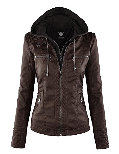 Lock and Love LL WJC663 Womens Removable Hoodie Motorcyle Jacket XL Coffee