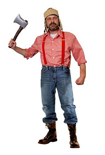 I LOVE FANCY DRESS LTD HOLZFÄLLER-Hillbilly-Lumberjack = KOSTÜM VERKLEIDUNG Halloween Fasching+Karneval=BEINHALTET=Kariertes Hemd+Plastik AXT+Aviator MÜTZE +ROTE HOSENTRÄGER=XXLarge