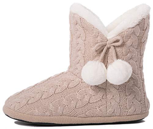 Airee Fairee Hausschuhe Damen Pantoffeln Stiefel Schuhe mit Weichen,Beige,40-41 EU/ Herstellergröße- Large