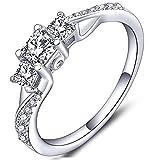 YL Anillo de compromiso Anillo de bodas de plata de ley 925 con Circonita para mujer Novia(Tamaño 17)