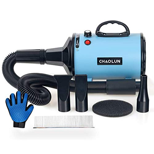 CHAOLUN Blower Grooming Dryer Dog Hair Dryer with Heater Dogs & Cats, 3.8HP Powerful Blow Force, Stepless Adjustable Speed, Reduce Noise, Heat Insulation, Blue