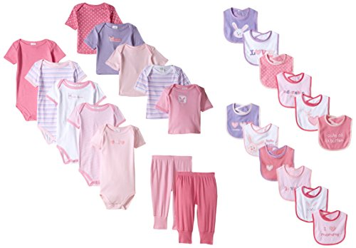 Luvable Friends baby girls Gift Cube Layette Set, Pink Bunny, 0-3 Months US