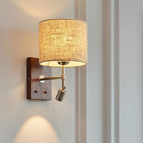 LONSTAII Lámpara de Pared Lino Textil Aplique de Pared Dormitorio Moderna E27 Interior Madera Iluminación de Pared Lámpara de Cabecera para Salón Escalera Pasillo Ø18CM,B