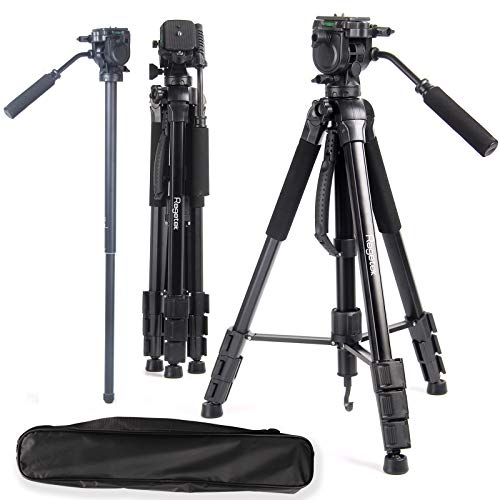 """Regetek 72"""" Camera Tripod Stand with Monopod & Fluid Head & Carry Bag,Aluminum Professional Tripod Stand with 1/4"""" Mounting Screw for Phone, Nikon Canon DSLR Cameras, Gopro, Laser Measure, Laser Level"""