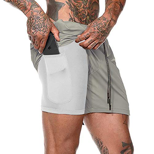 NEWISTAR 2 in 1 Shorts Herren Sommer Sporthose Fitness Joggen Kompressionshose Schnell Trocknend Kurze Hose mit Reißverschlusstasch