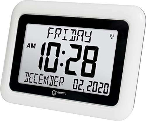 Viso10 -Extra Large Atomic Clock - (Battery Operated with NO Back Light, NO Trailing Wires)- Clear Big Letter Full Text Display - for Dementia and Alzheimer Sufferers- US Version