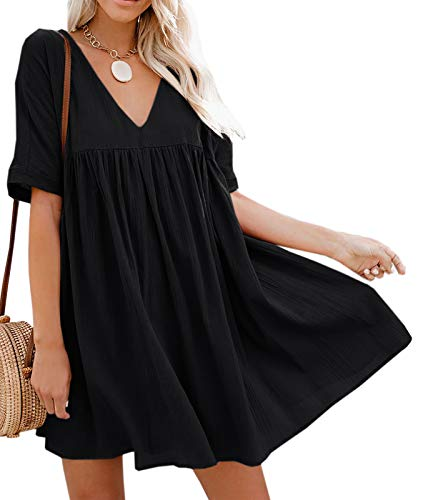 Bigyonger Womens A-Line Short Sleeve Tunic Dress V Neck Soild Babydoll Pleated Mini Dresses Black