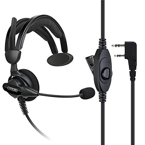 COODIO Kenwood Funkgeräte Ohrhörer 2 Pin Über-Ohr Security Headset [Swivel Boom Mikrofon] [Noise Cancelling] Kopfhörer Mikrofon Für Kenwood Baofeng Wouxun PMR