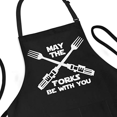 Funny Apron, May The Forks Be With You - Novelty Funny Cooking Apron for Movie Fans - Extra Large 1 Size Fits All - Poly/Cotton Apron with 2 Pockets - Star Gift for Cook, Husband,