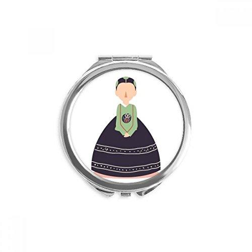 DIYthinker les femmes coutume traditionnelle en corée du miroir rond maquillage de poche à la main portable 2,6 pouces x 2,4 pouces x 0,3 pouce Multicolore