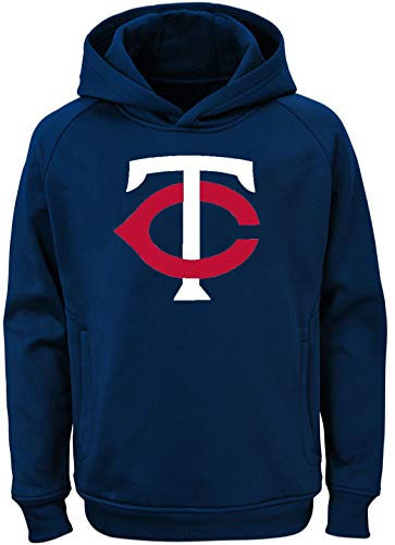 Outerstuff MLB Youth 8-20 Team Color Polyester Performance Primary Logo Pullover Sweatshirt Hoodie (Large 14/16, Minnesota Twins)