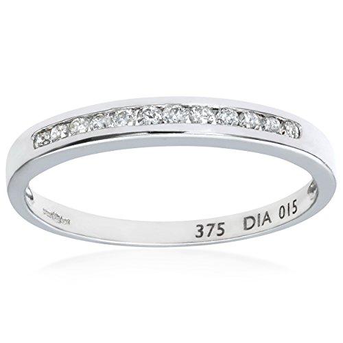 Naava Women's 0.15 ct Channel Set Diamond 9 ct White Gold Eternity Ring - Size: J