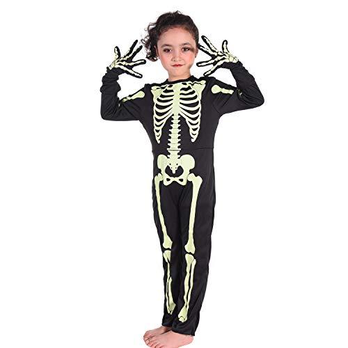 Kids Halloween Skeleton Costumes Glow in The Dark White Bones Stretch Body Suit for Boys Girls