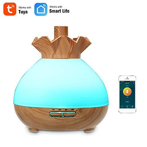 OWSOO 400ml Humidificador WiFi Inalámbrico, Humidificador Inteligente con LED Lámpara, Difusor de Aceites Esenciales, Control de Phone App, Control de Voz Compatible con Alexa y Google Home, Color 2