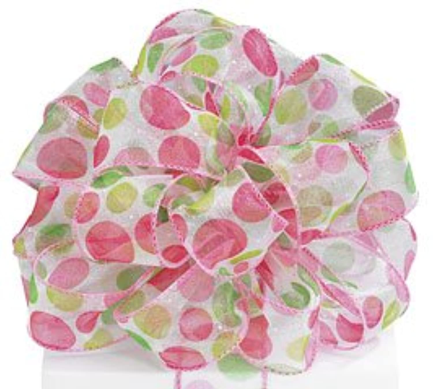 Burton and Burton 1245203 Pink and Green Dots a Lot on White Sheer Wired Ribbon #9 1.5
