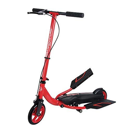 MOM Patada para scooter de deportes al aire libre, patada para adultos con freno de mano, pedales dobles antideslizantes para adolescentes de más de 8 años de edad, carga de 70 kg, rueda de PU grande