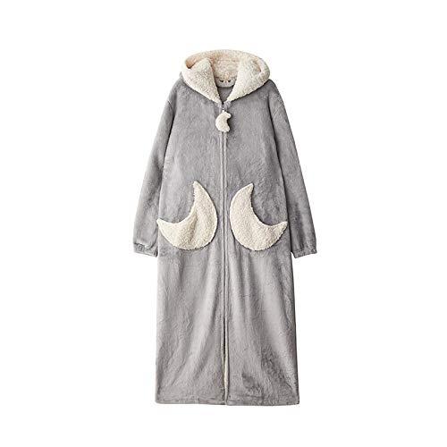 Pijamas Mujer Camisón Camisón para Mujer Ropa De Dormir Bata Lindo Grueso Invierno Franela Cremallera Larga Coral Polar L110-130Kg Graymoon