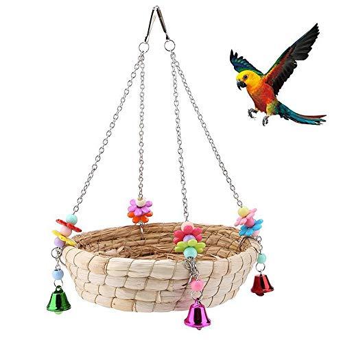 Pappagallo Bird Nest, Letto Nido di Paglia Intrecciata a Mano Naturale Altalena con 4 Campane in Metallo, Giocattoli Pappagallo Uccello Altalena per U