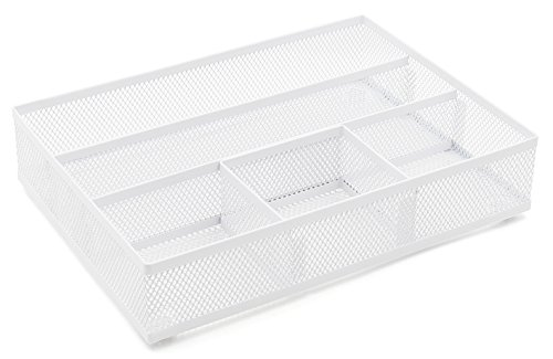 EasyPAG - Bandeja organizadora para cajones de escritorio, accesorio de oficina hecho de rejilla, color blanco