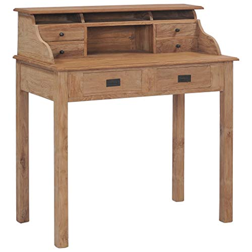 vidaXL Teak Massivholz Schreibtisch mit 6 Schubladen Fächern Computertisch PC Tisch Sekretär Bürotisch Arbeitstisch Büromöbel Holztisch 90x50x100 cm