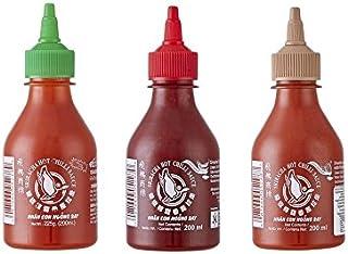 3er Set Sriracha Hot Chili Sauce versch. Sorten 3 x 200ml Chilli Soße Pamai Pai