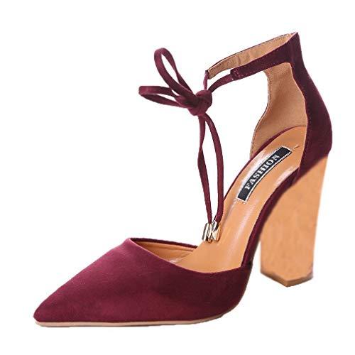 Minetom Mujer Verano Elegante Moda Rosa Bordado Tacón Sandals Tobillo Correa Hebilla Sandalias Pointed Toe Zapatos de Tacón Alto Vino Rojo EU 38