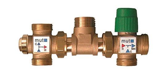 Mut 703001195 thermostaat zonne-energie set met vergrendeling (45/55 °C) en verstelbare mengbatterij (30-60 °C)