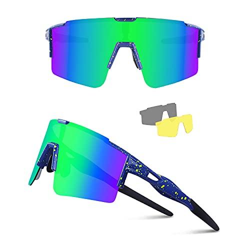 Ukoly Cycling Sunglasses with 3 Interchangeable Lenses Men Women, Polarized Sports Sunglasses, Fishing Baseball Sunglasses