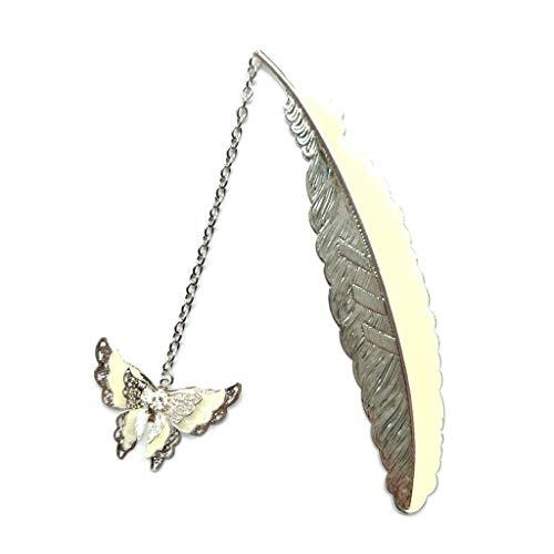 Segnalibro a forma di piuma di rame che si illumina con una grande farfalla, retro in puro rame fluorescente, placcato in argento, piccolo segnalibro, decorazione regalo Silver