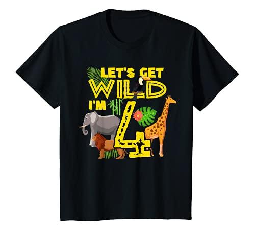 キッズ Let's Get Wild I'm 4 ファニー サファリ サバンナ 動物園 動物愛好家 Tシャツ