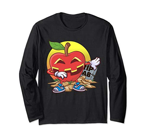 Apfel Halloween Tupfen Apfel-Laterne Jack O Laterne Geschenk Langarmshirt