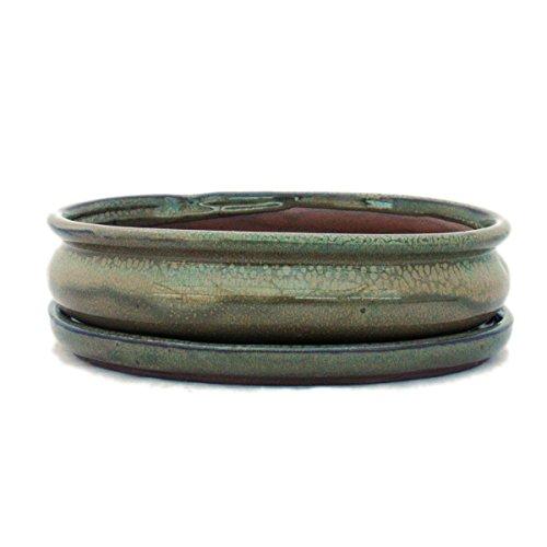 exotenherz Bonsaischale mit Unterteller Gr. 3 - Olive-Braun - oval - Modell O47 - L 19cm - B 13,5cm - H 5cm