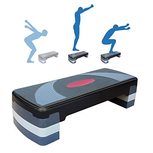 N/M Adjustable Home Gym Workout Aerobic Stepper 31'' Exercise Step Platform with Risers 4'' 6'' 8'' Non-Slip Surface Trainer Stepper