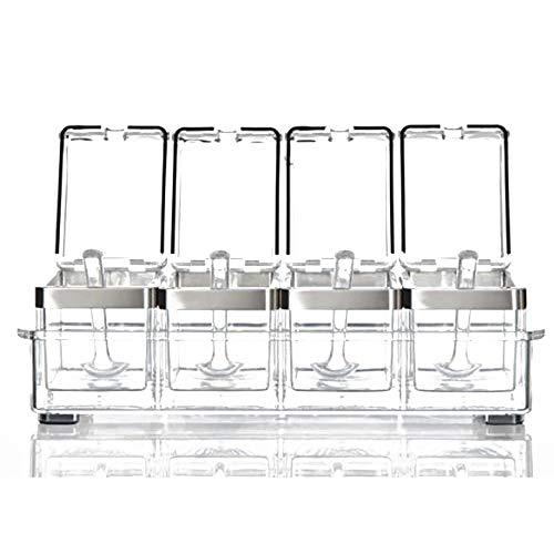 Keuken Acryl Kruidendoos, Premium Kwaliteit Pure Acryl Container En Case RVS Ring Wordt geleverd met 4 kruiden lepels