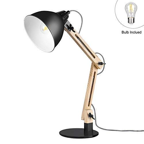 Lampe de Table en Bois, Viugreum Décoration Morderne Architecte Design Lampe de Lecture [3 Articulations Réglables][E27 Ampoule 7W LED Inclus] Haute Luminosité pour Chambre Salle Bureau - Noir