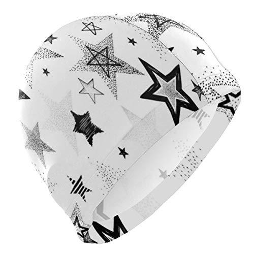 Quintion Robeson Gorra de baño Blanca con abstracción de Estrellas Dibujada a Mano Tejido de poliéster Superior Gorro de baño Sombrero de natación Duradero Resistente al Agua