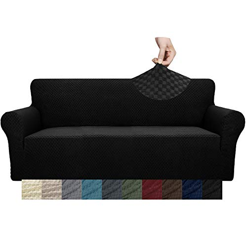 YUUHUM Creative Design Couch Cover 1 Piece Stretchable Elastic Sofa Covers for 3 Cushion Couch Living Room Pet Dog Furniture Protector Stretch Slipcovers with Anti Slip Foam Rod (Sofa, Black)