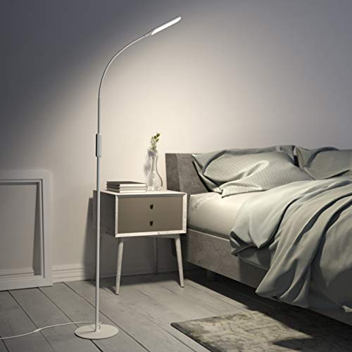 LED Floor Lamp White with 5 Brightness Levels & 3 Colors, Gladle Dimmable Tall Bright Light for Living Room Bedroom Office Reading Craft Task, Minimalist Standing Corner Lamp with Adjustable Gooseneck