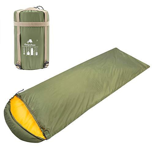 CampFeuer Deckenschlafsack   220 x 75 cm   Erwachsene   Schlafsack für Camping und Outdoor Aktivitäten   Mumienschlafsack   leicht klein warm (Oliv/orange)