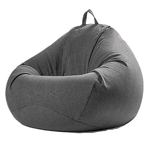 MOMIN Silla Chill Sack Bean Bag Presidente Extra Grande Bolso De Haba Perezoso del Sofá De La Cubierta Interior BeanBag Asiento Juego De Exterior (Color : Gris, tamaño : Un tamaño)