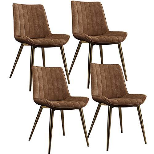 ZYXF Cuero de la PU Sillas Comedor Conjunto de 4 Sillas de la Esquina Asiento y Respaldos con Patas Metal Clásico Sillas Cocina for sillas Restaurante (Color : Orange)