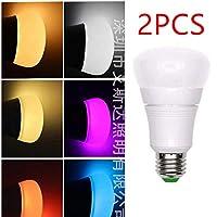 ALEXA GOOGLE HOMEと互換性のある2PCS Wifi APP Control E27 7W RGB LED電球