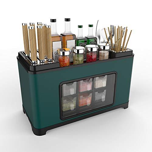 Domeilleur Spice Rack Organizer, multifunktionales Gewürzbox-Rack mit Deckel Küchen-Edelstahlschneider Aufbewahrungshalterung mit Auffangwanne Große Kapazität