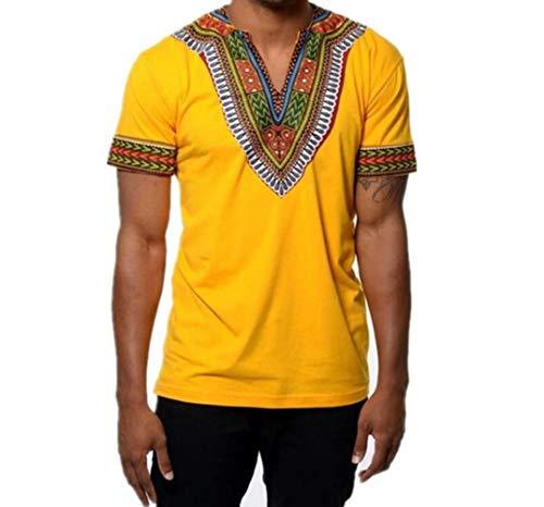 Rera Herren Afrikanisch T-Shirt Langarm Hemd Traditionelle Beiläufige Dashiki Shirt Tribal Hemd Bluse Tops (XL, Gelb Kurzarm)