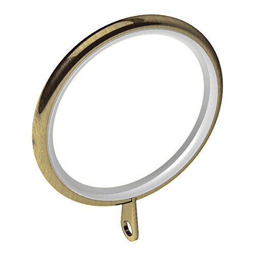 Swish Elements 35mm Metal Curtain Pole Rings, Antique Brass, 12 Pack
