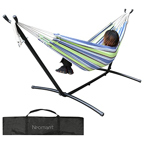 Double Hammock with Space Saving Steel Stand (450 lb Capacity - Premium Carry Bag Included) - for para Patio, Indoor and Outdoor (Blue/Green Stripes)