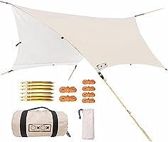 らくらく タープ タープテント ヘキサタープ 420T 3.5mx3.5m 耐水+防カビ加工済 遮光 遮熱 キャンプ テント UVカット コンパクト 収納袋付き