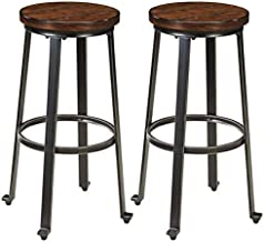 Signature Design by Ashley - Challiman Bar Stool - Pub Height - Set of 2 - Rustic Brown