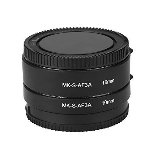 Yunir Juego de Tubos de extensión Macro automático de Enfoque automático de 10 mm y 16 mm para cámaras de la Serie Sony E/FE NEX3 NEX5 NEX6 NEX7 A5000/A6000/A7/A7M2