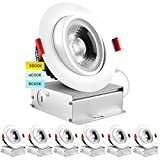 Luxrite 4 Inch Adjustable Gimbal Eyeball LED Recessed Lighting Kit, 3 Color Selectable 3000K   4000K   5000K, 11W=75W, 1000 Lumens, Dimmable Canless LED Downlight, IC Rated, Damp Rated (6 Pack)